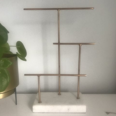 ed89579fc @alice86h. 8 months ago. Canterbury, United Kingdom. Copper and marble 3  tier jewellery stand from Oliver Bonas.
