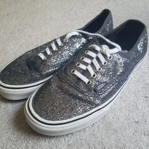 11c371cbb9 Dark grey glittery sparkly vans shoes. Women s size 8 men s - Depop