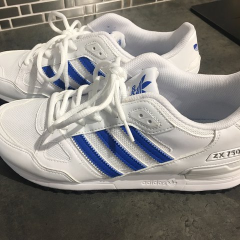 73463bd36a1a2 Adidas ZX 750 White Blue trainers. UK size 9. Worn a couple - Depop