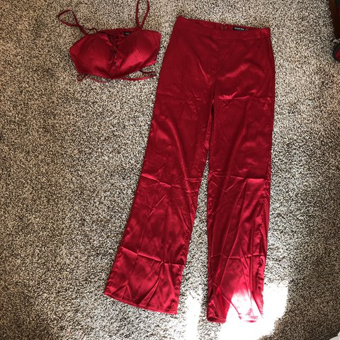 ae7be05797 Red Silk Two Piece Pant Set. never worn. bra top and high - Depop