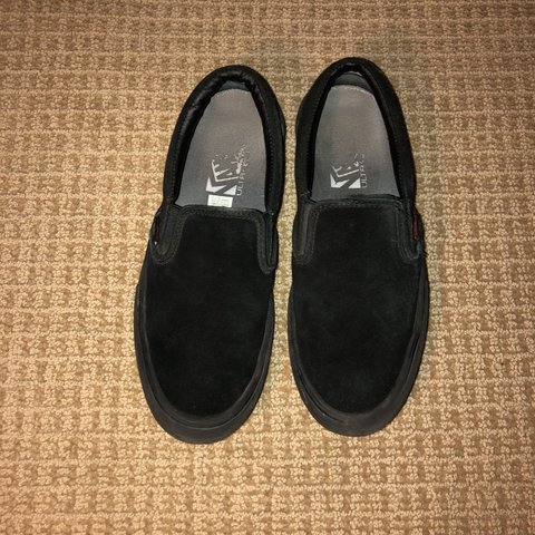 d739c70380a0c7 Vans. Slip on pro. Blackout. Size 9. Skated in lightly. (See - Depop