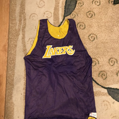 8a058333704 Los Angeles Lakers Reversible NBA Practice Mesh Jersey Size - Depop
