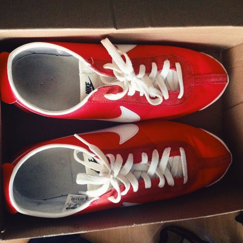 on sale 24633 e80ec  deanball555. 4 years ago. Plymouth, United Kingdom. Red and white Nike  Cortez OG Nylon ...
