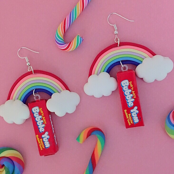 Rainbow Bubble Yum Earrings $14 (price incl     - Depop