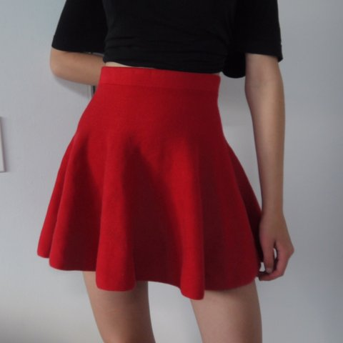 603a465ce3b1 Red knitted Circle skirt! Super cute and super High only - Depop