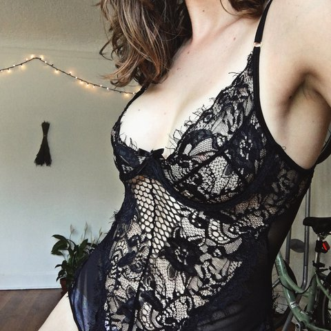 195aa1b6753 Sexy black lace lingerie bodysuit teddy. The back is mesh a - Depop