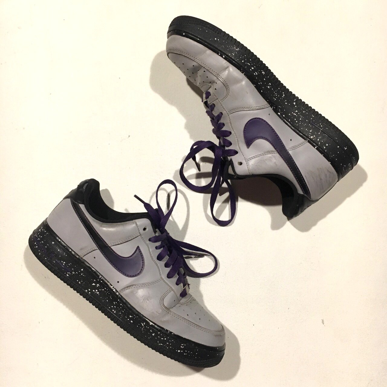 d57b0440f0c2d Nike Air Force 1 One AF1 Ghost Grey, Court Purple With Black - Depop