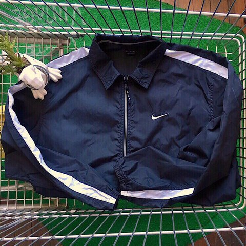 394a98613 @souldoutvintage. 2 months ago. Providence, United States. Vintage Nike  Striped Windbreaker Black & White Simple Swoosh Zip up jacket ...