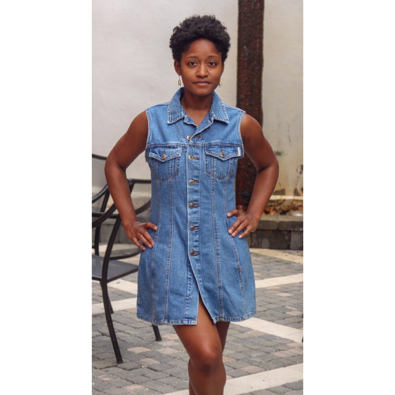 a310d67fa40 Vintage 90 s Denim Dress WITH POCKETS Squeeze all the way - Depop
