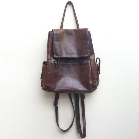 4a165ba56192 Vintage Brown Mika Backpack ✌🏼 Red Check inside