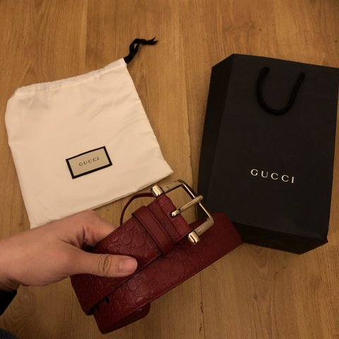 3324817bcfc Thinking of selling my red gucci belt (never used) because I - Depop