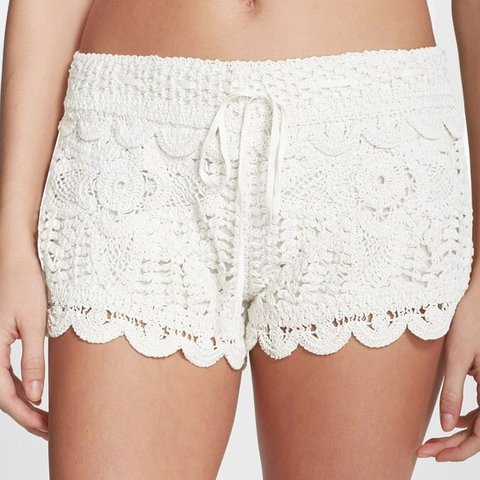 Surf Gypsy White Crochet Shorts Never Worn Crochet Lace Depop