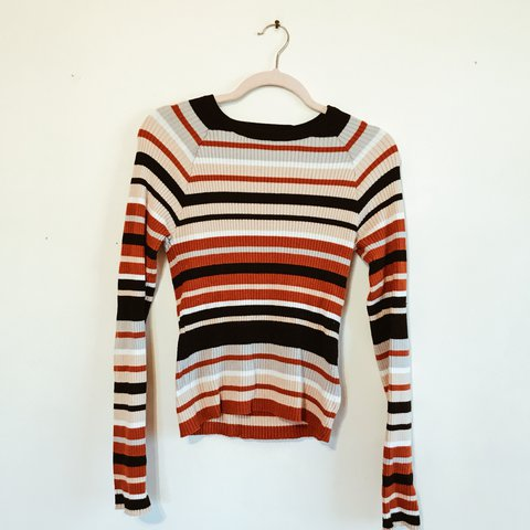 6d79b6c8c90854 Forever 21 Contemporary Striped Sweater Top. Size L (I m a — - Depop