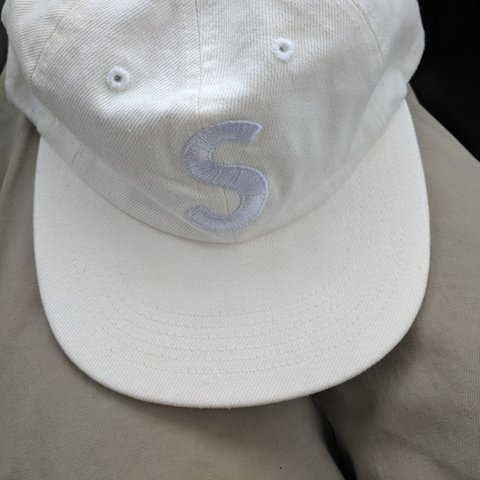 f968e3ab373 Supreme White Washed Denim S Logo 6 Panel Hat. New with to - Depop