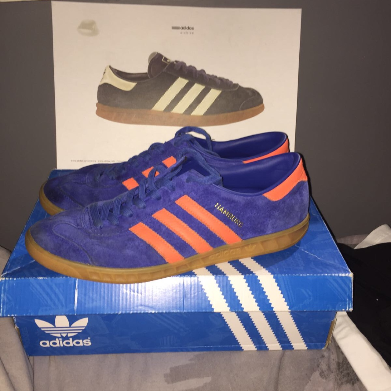 Size 10 blue and orange adidas gazelle trainers with...