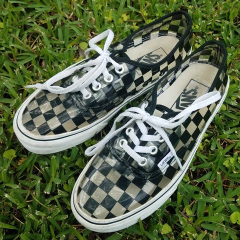 86fdd65d16 Clear vinyl checkered vans I love these shoes