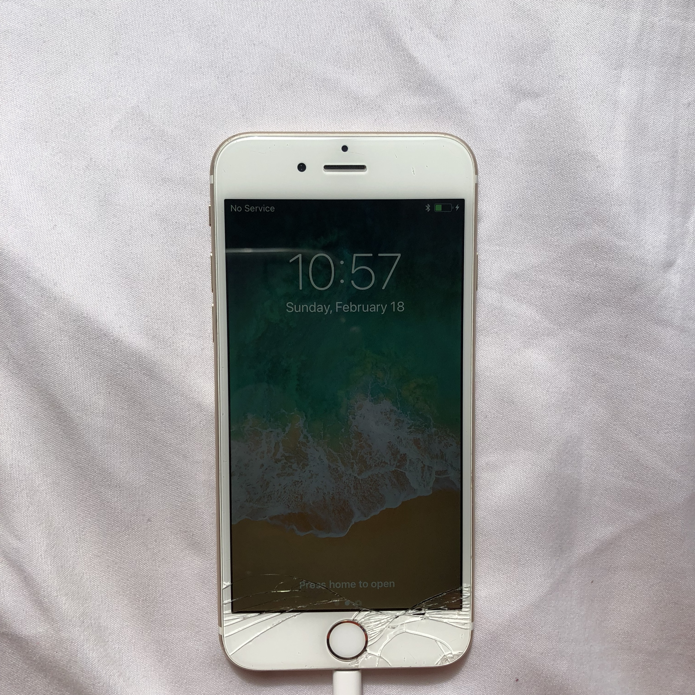 cracked iphone 6, i dropped it a month before i was    - Depop