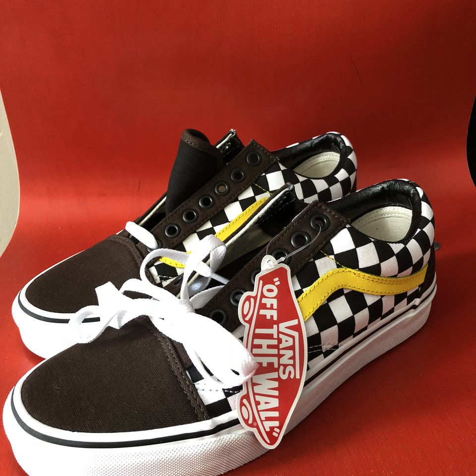 checkerboard vans yellow stripe