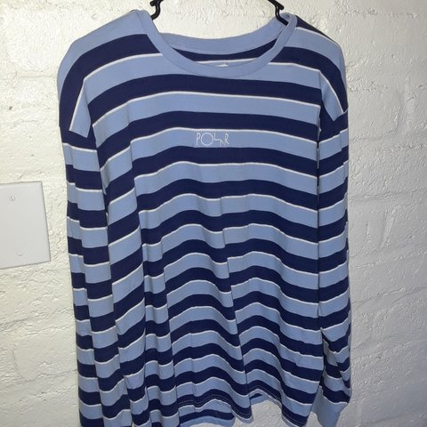 77d534aaa5 @makk_01. last year. Arizona, US. Polar Skate Co. Blue and white striped  long sleeve tee