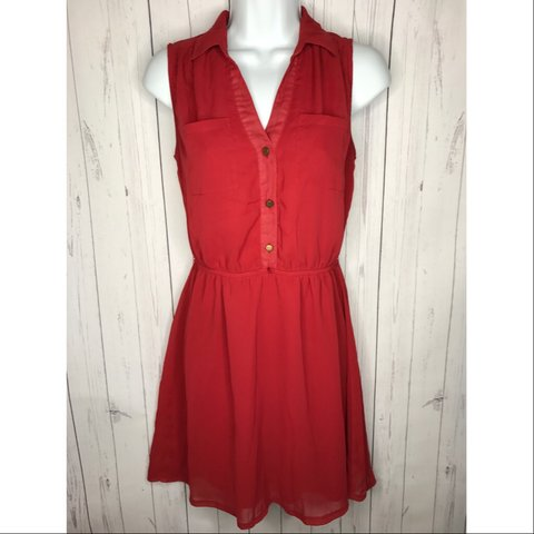 34f9bb81f85850 Charlotte Russe size Small red sleeveless shirt dress. up in - Depop