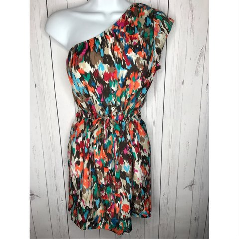 addb91181b7 Forever 21 size Small one shoulder dress. Multi color print