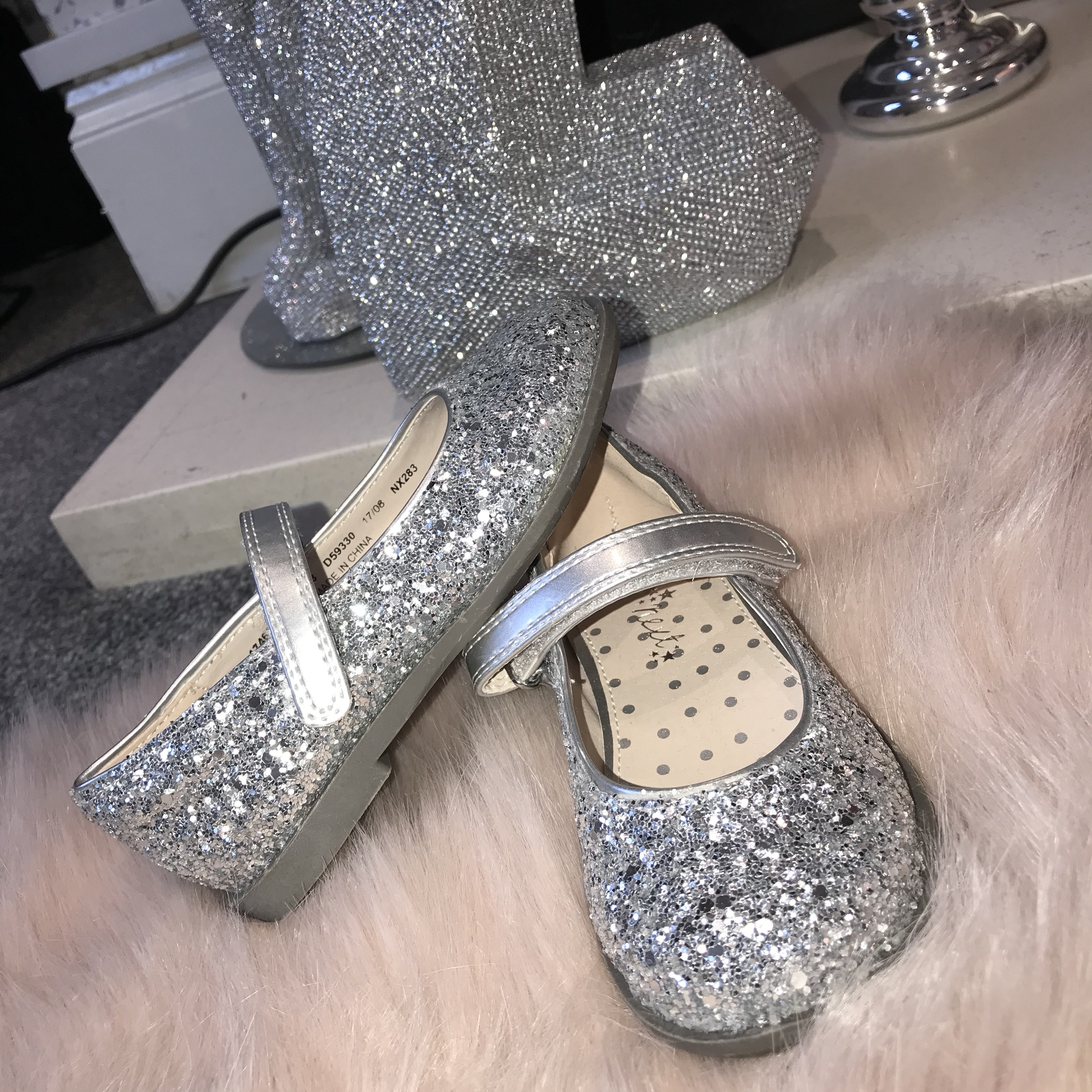next silver glitter shoes