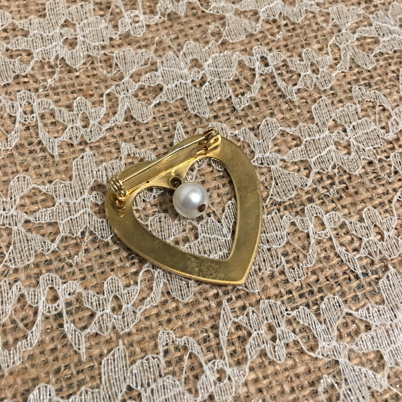 Gold heart-shaped lapel pin with faux pearl     - Depop
