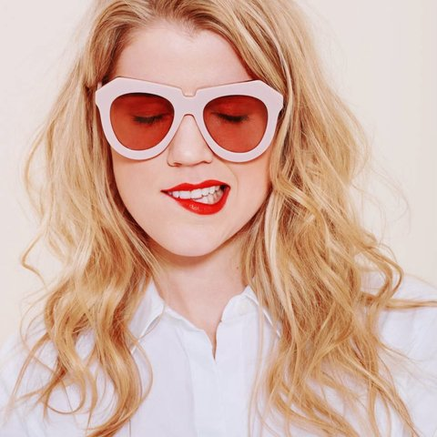 6505baed720 @aftershows. 4 months ago. Milsons Point, Australia. Karen Walker one  meadow dusty pink and gold oversized sunglasses