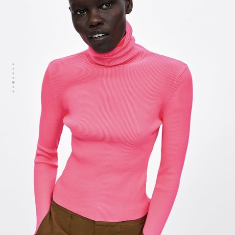 43e78a11bcf  rmcl93. 6 months ago. United Kingdom. Zara Neon Pink Ribbed Turtleneck  Sweater