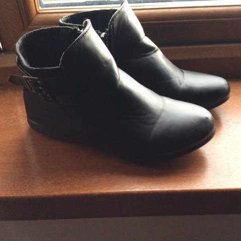 1c3dcc02ddb1 Black flat girls ankle boots . Size 12 kids Few marks . Worn - Depop