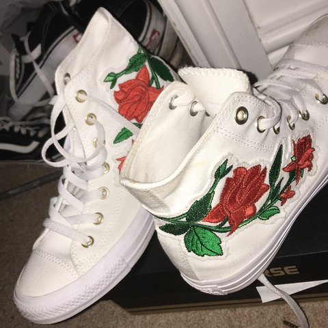82b7ae36bbf Converse all star Hi White Red Rose Exclusive Size 6 8 10 - Depop