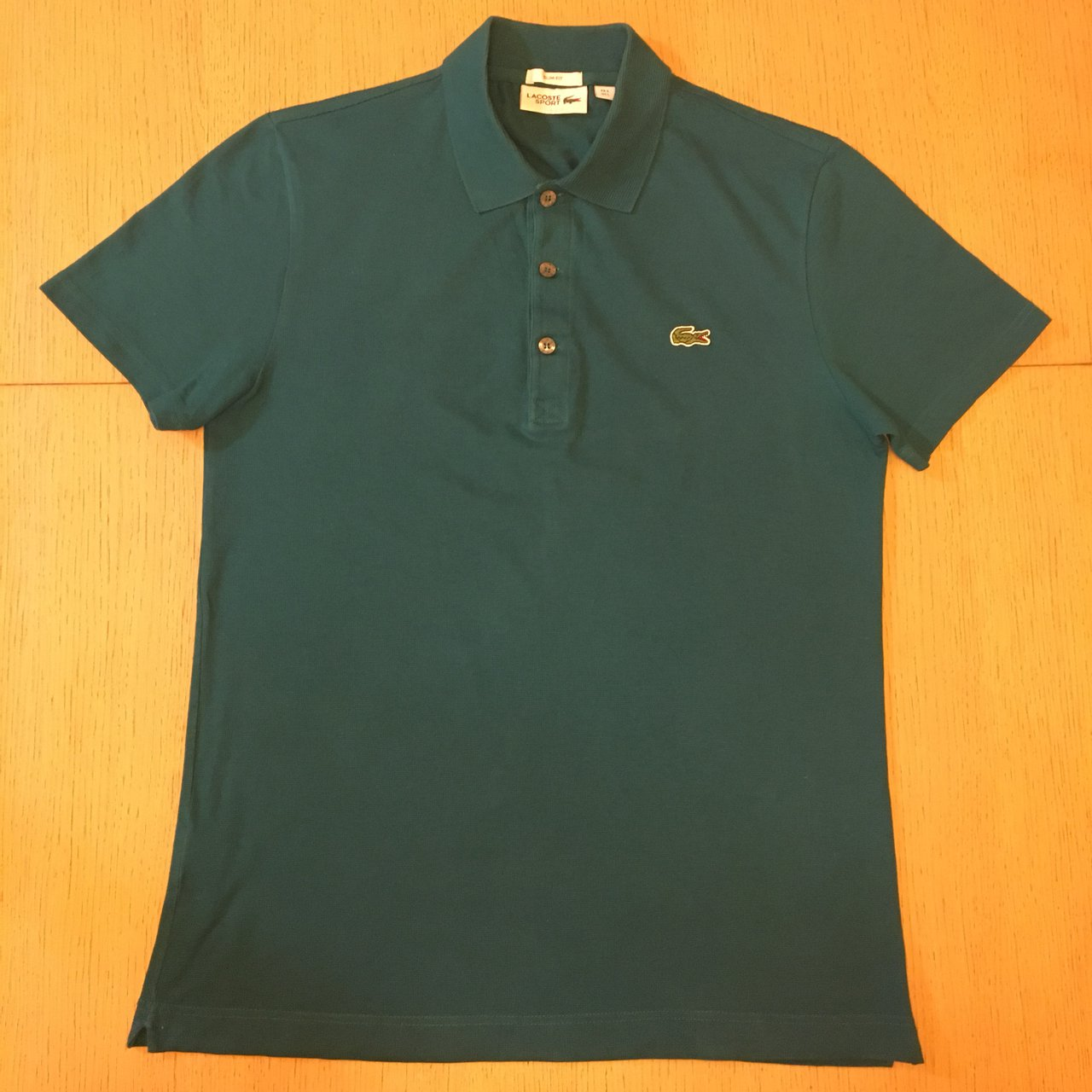 2519095c Lacoste Polo Shirt Large Mens Slim Fit Turquoise Worn Depop