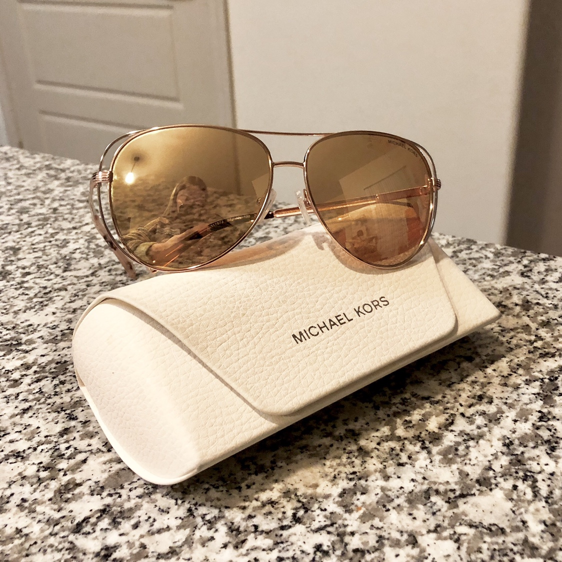 69634c004a9f Like new Michael Kors rose gold aviator sunglasses.... - Depop