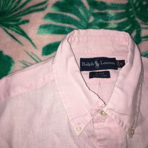 304d5ea3 ... new zealand mens ralph lauren blake linen pink short sleeved shirt.  depop 259d5 fbde7