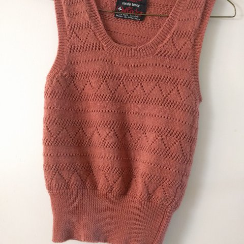 Rust Color Vintage Crocheted Pull Over Knit Sweater Vest Depop