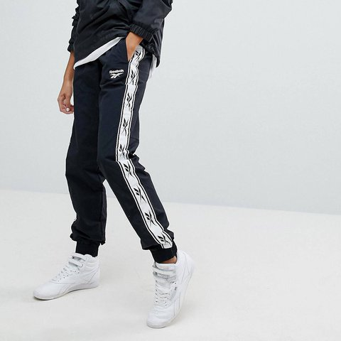 57a175480d38d SOLD OUT REEBOK CLASSIC TRACK PANTS Black and white reebok a - Depop