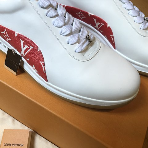 21ef3d5f15e4 SUPREME X LOUIS VUITTON LV SNEAKERS TRAINERS WHITE   RED 9 - Depop