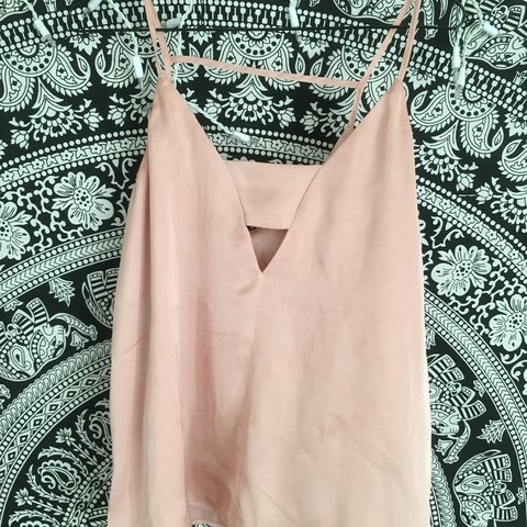 2150a20f4a188 A blush pink silk top. Horizontal strap detail on the front - Depop