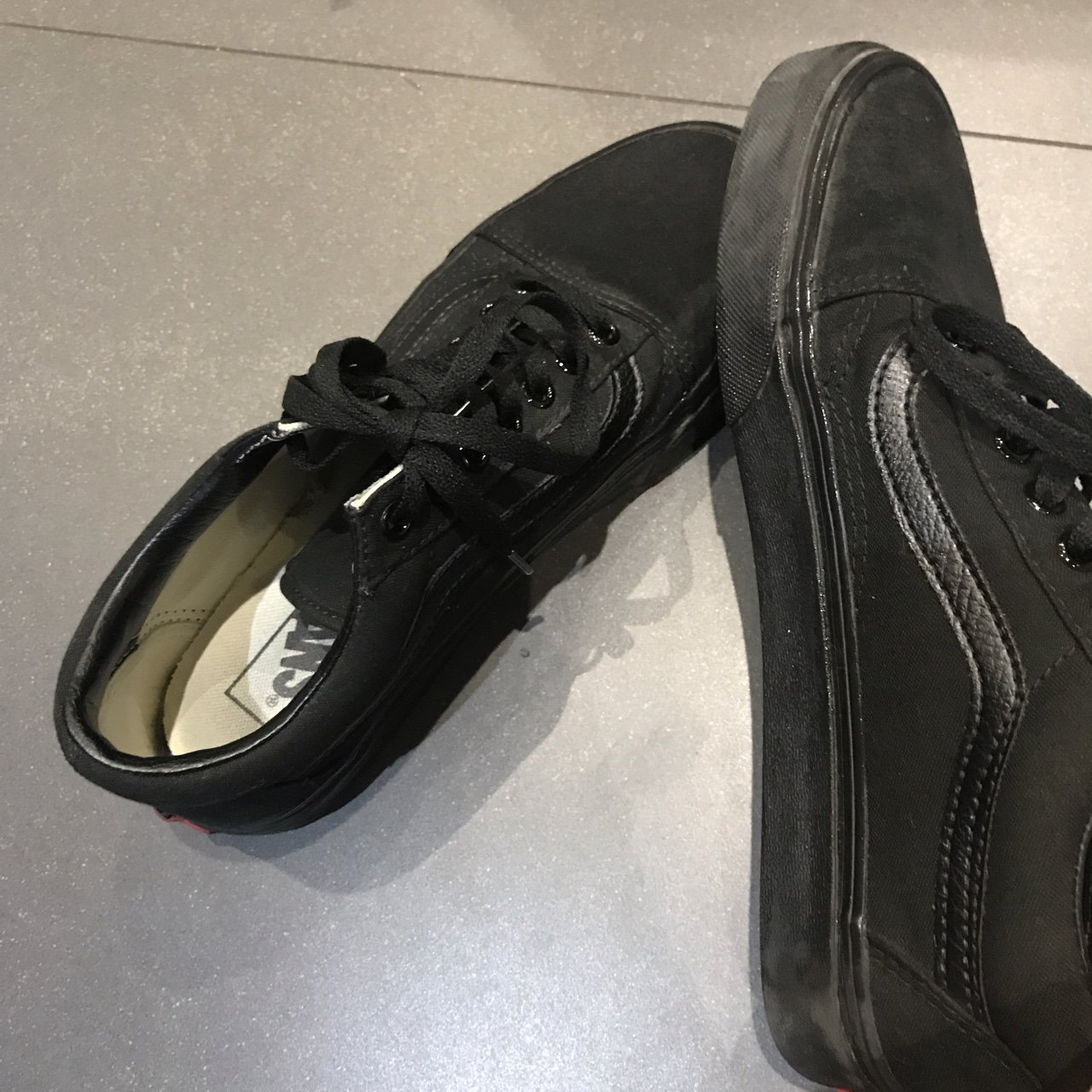 Black vans only worn once in perfect condition size 6. Just - Depop 23d8a2a96