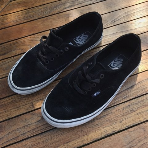 a3bd7a5fd0 Black Vans velvet material - UK Size 6 - Very good hardly - Depop