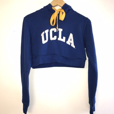 435ecb5329ea16 Upcycled Cropped UCLA Hoodie with Yellow Wide Shoelace (Tied - Depop