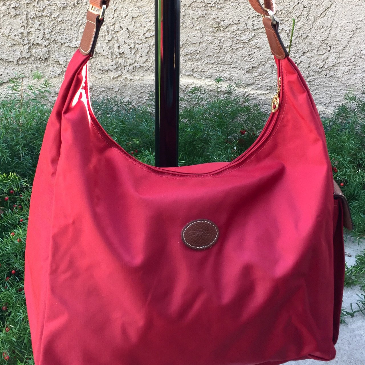 Beautiful LONGCHAMP Le Pilage Red Nylon Brown Leather Bag on - Depop ffd512a3b72fa