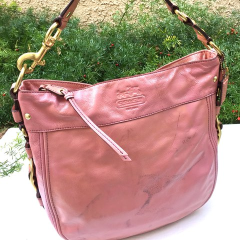 cab3c45252 SALE COACH Baby Pink Gold Patent Glossy Leather Shoulder in - Depop