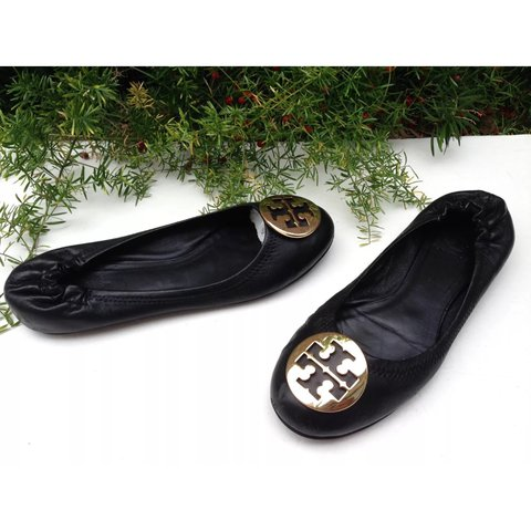 f8b819917 SALE TORY BURCH Reva Black Gold Emblem Leather Ballerina to - Depop