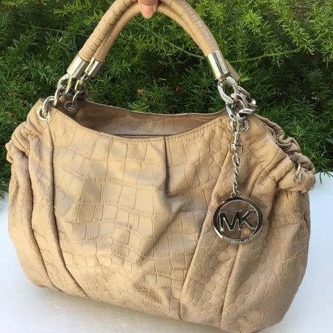 7f24968491a4 @awonderz. last year. Chino Hills, United States. SALE MICHAEL KORS Beige Leather  Crocodile Print Shoulder Satchel Chain Bag Med