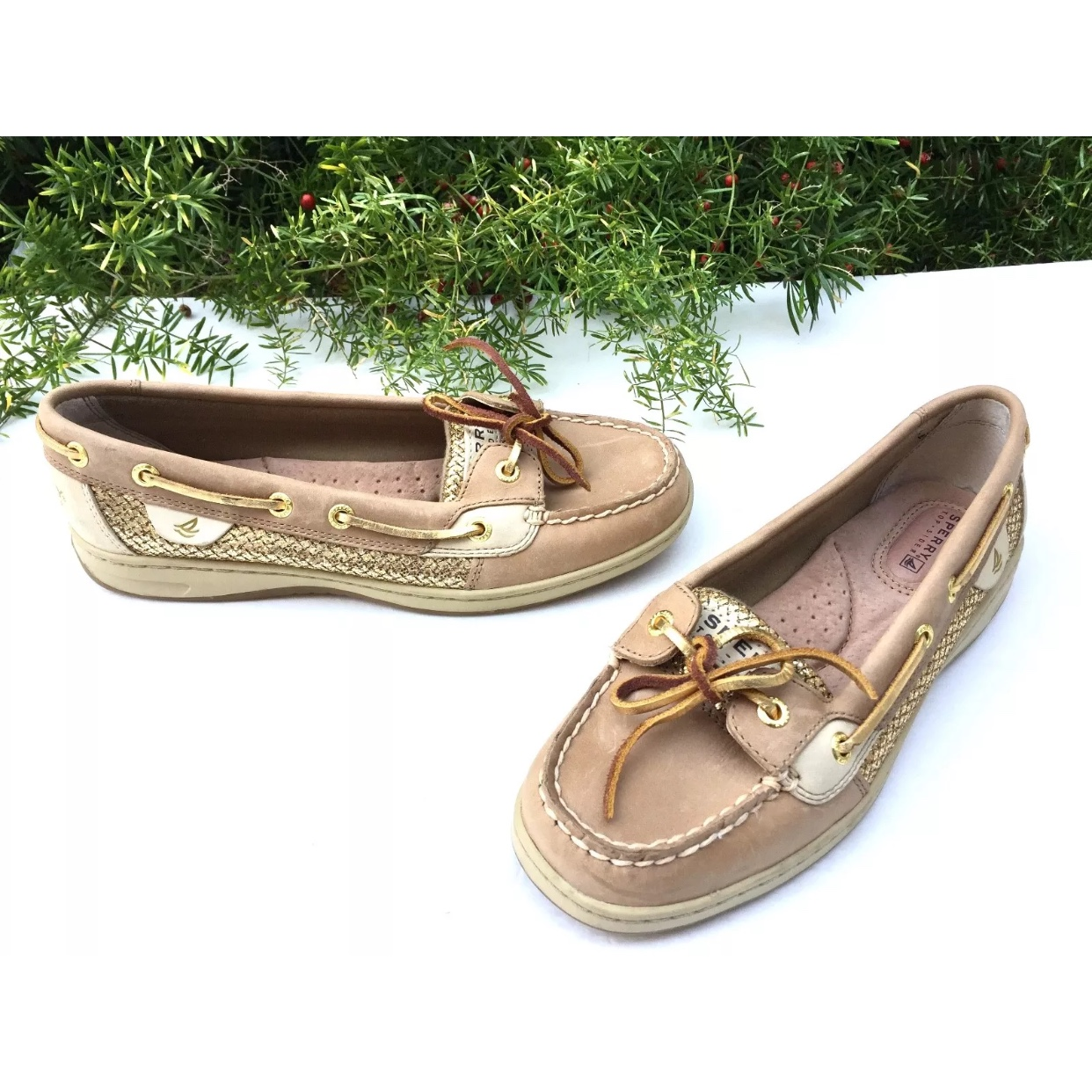 Sperry Ladies Top Sider Angelfish Tan Leather Gold