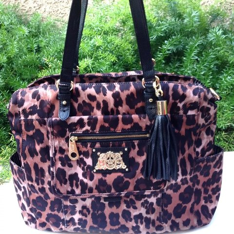 cc45c89d1 @awonderz. last year. Chino Hills, United States. SALE JUICY COUTURE  Leopard Nylon Black Leather Large Zip Penny Tote Shoulder Bag