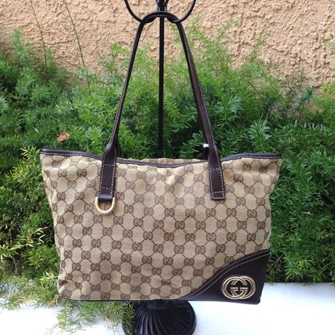 c9e9f0625 @awonderz. 4 months ago. Chino Hills, United States. SALE GUCCI Britt GG  Monogram Canvas Brown Leather Medium Open Tote Shoulder Bag