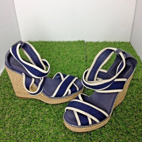 2ae895959 SALE TORY BURCH Navy Blue White Criss Cross Stripe Platform - Depop
