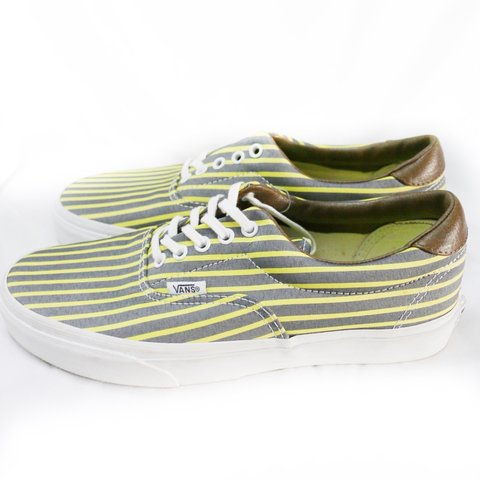 77e92495d2 New in box Vans Era 59 grey and yellow striped sneakers with - Depop